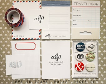 Love to travel Journaling Cards + Badges + Washi Tape Set with bonus printable cards