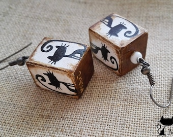 Handmade wooden rectangle square earrings with black cats (black & white, beige, brown, retro)