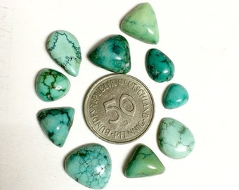 Natural Turquoise Gemstone free form hand polished Cabochons lot for jewelry making like pendants rings necklaces finegemstone supplies