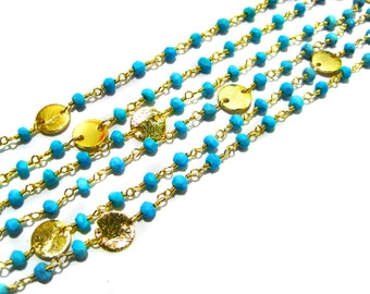 GoldPlated Turquoise Gemstone Beaded Chain with matt finish round coins faceted Beads Cluster Bulk Chain supplies wholesale jewelry findings