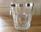 Vintage French Cristal D Arques Crystal Ice Bucket with metal Handle