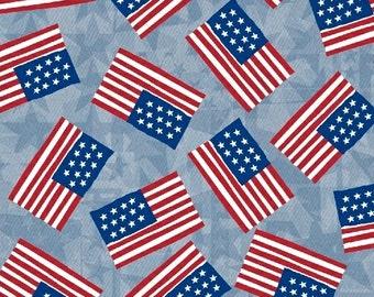 Flags (Light) - U.S.A - Whistler Studios - Windham fabrics - 1 Yard