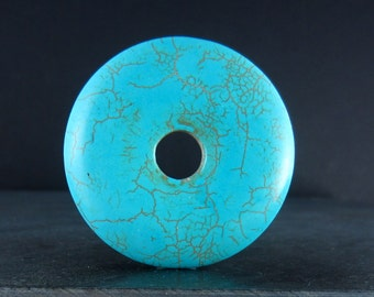 Beautiful  Extra large donuts magnesite turquoise blue donuts S5318