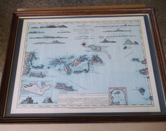 "Vintage ""The Virgin Islands"" from English and Danish Surveys Map by Thomas Jefferys-Framed with Glass"