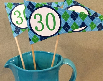 FORE! ARGYLE GOLF Happy Birthday or Baby Shower Centerpiece Flags Pennants - {Set of 3} - Party Packs Available- Party Packs Available