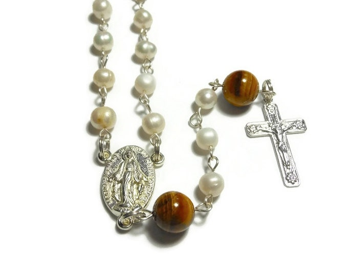 Cultured pearl rosary beads, 'Pure Love', pearls with tiger's eye Our Father beads, silver plated Miraculous Medal and Crucifix- free pouch