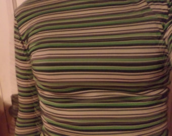 Vintage Olive Green Brown Tan Striped Mock Turtleneck