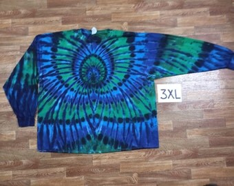 Tie Dye T-Shirt ~ Aqua Spider Spiral i2015 Long Sleeve Triple Extra Large