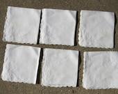 Vintage White on White embroidered Tea Napkins-set of 6