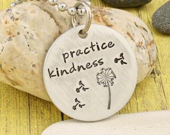 Practice Kindness - hand stamped aluminum pendant by iiwii emporium