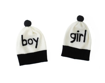 Boy, Girl Baby Hat - soft knitted woolly hat with pom pom, newborn hat, new baby gift
