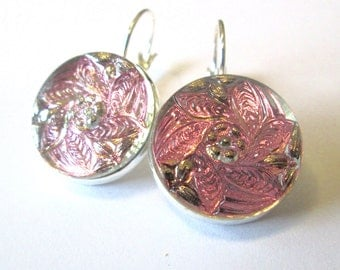 PINK vintage button earrings, glass buttons, silver lever backs