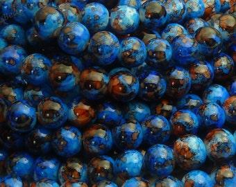 Blue Mottled Round Glass Beads - 8mm Bohemian Beads - 25pcs - BN32