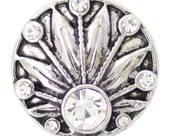 1 PC 18MM White Flower Rhinestone Silver Candy Snap Charm ds5120 CC1613