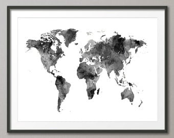Watercolor Map of the World Map, Art Print (2396)