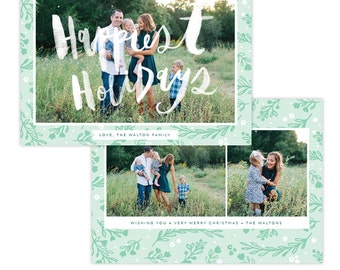 INSTANT DOWNLOAD - Christmas Holiday Card Photoshop template - e1357
