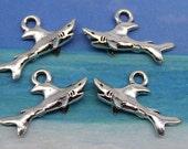 6 Shark Charm 3D Antique Silver Tone Metal U.S Seller - ts932