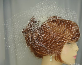 Wedding Birdcage Veil with Pearls, Small Bridal Veil, Russian Veiling, Bridal Accessory, Birdcage Veil with Bow, REX3036