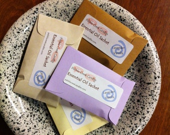Essential Oil Sachets Lavender Vanilla Scented Natural Nontoxic Eco Friendly Seed Envelopes Baptism Favors Personalized Color Choice Artisan