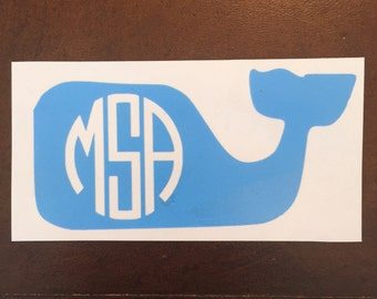 Monogrammed Whale Decal [Solid Color]