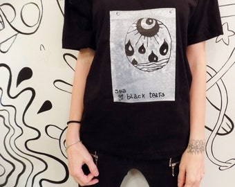 Sea of black tears - Hand Screen Print Black T-shirt