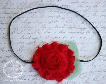 75% Off Royal Red Shabby Flower Headband/ Newborn Headband/ Baby Headband/ Flower Girl/ Wedding/ Photo Prop