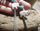Minimalist Lucky Elephant Tassel Necklace with Amazonite and Magnesite, Choice of Silver or Brass, Made to Order, White Elephant Jewelry