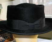 Vintage Black Stevens 3X Beaver Steampunk Bowler Porkpie Genuine Velour Gangster Pimp Swinger Hipster Hat 7 1/4