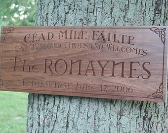 Celtic Sign, Irish Name Sign, Irish Blessing Sign, Celtic Sign, 5th Anniversary Sign, Benchmark Custom Signs Walnut CJ
