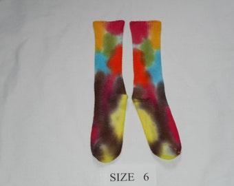 Children bamboo socks size 6, socks, hand dyed, OOAK