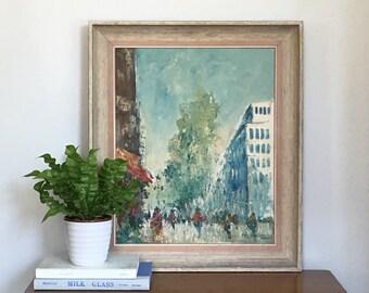 Large Vintage Paris Oil Painting Original Signed Oil on Canvas Paris Street Scene French Impressionism Style
