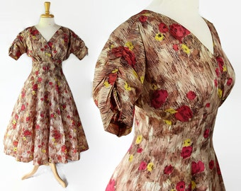 50s Rockabilly Swing Dress Floral Novelty Print Wrap Bodice Shirtwaist