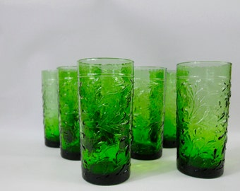 7 Green Pressed Glass Embossed Raised Relief Tumblers Drinking Glasses Rocks Cocktail