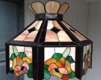 "Tiffany Style Stained Glass Hanging Light Fixture 20"" x  15"" Orange Gold Rust and Green Floral Flowers Ceiling Chandelier"