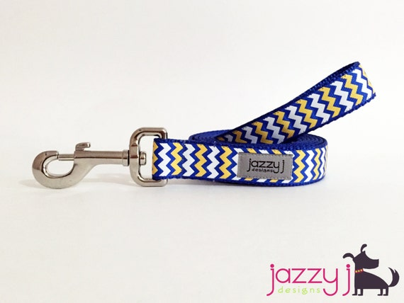 Royal Blue Gold Yellow And White Chevron Dog Lead San Diego