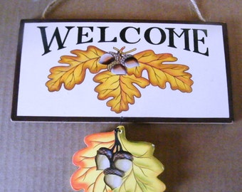 Wood Welcome leaves fall Thanksgiving Halloween wall decor sign