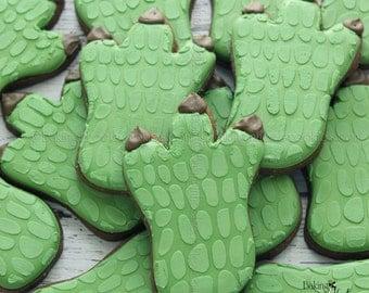 Dinosaur Foot Decorated Cookies, Dinosaur Birthday Decorated Cookie Favors, Birthday Cookies, Dinosaur Cookie, Boys Birthday Cookies