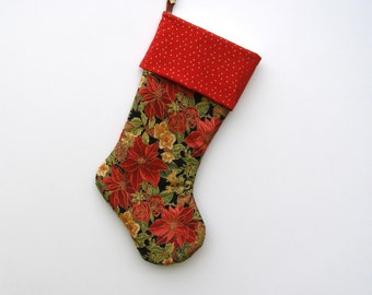 Christmas Stocking.Poinsettias and Roses. Large Cotton Stocking.Christmas Stocking. Home Decor. Holiday.Gold Outlined Foliage