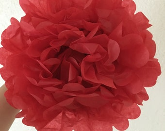 Red Tissue Pom Pom 3 pieces. Wedding Decoration. Birthday. Engagement. Bridal Shower
