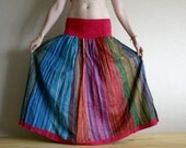Long skirt - Gypsy Skirt - Patchwork Maxi Skirt - Peasant Skirt by Chandrika Shop - Blue and Pink multicolored skirt