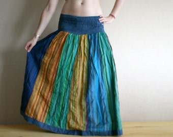 Long skirt - Gypsy Skirt - Patchwork Maxi Skirt - Peasant Skirt by Chandrika Shop - Blue and Yellow multicolored skirt