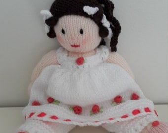 Miss Emily. Victorian Knitted Doll. Jean Greenhowe Design. Hand Knit Doll. Petticoat and Pantaloons. Ringlets and rag curlers . Rosebud trim