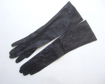 Stylish Black Leather Perforated Long Gloves Made in Italy