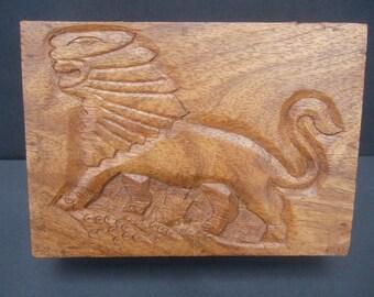 Unique Carved Wood Lion Decorative Box