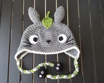 Studio Ghibli My Neighbor Totoro hat with soot sprite tassels (Newborn-Adult)