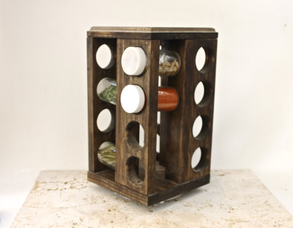 Rotating spice rack rustic woodspice rack by arrayanddisplay for Carousel spice racks for kitchen cabinets