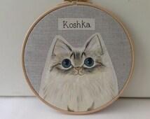"7"" Personalised pet cat portrait - custom cat portrait painted,  cat hoop art, cat lover gift ,made to order"