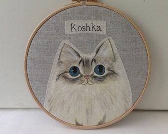 """7"""" Personalised pet cat portrait - custom cat portrait-  cat memorial - cat lover gift"""