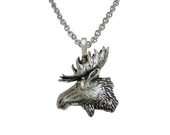 Moose Head Pendant Necklace