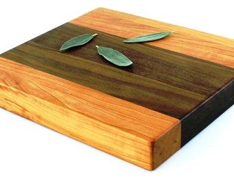 "Butcher Block Cutting Board - Edge Grain - Cherry & Walnut - 12-1/2""x11-1/2""x1-1/2"" - Ready to Ship"